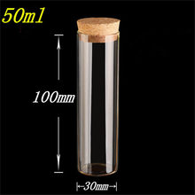 50 pcs 30x100 mm 50 ml Flat Bottom Glass Tube Bottles With Corks Empty Scented Tea Jars Containers Wishing Stars Vials(China)