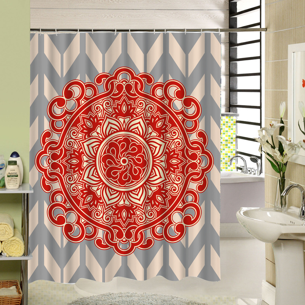 Fabric Shower Curtain Red Purple Floral 3d Curtain For Bath Screen Decor  Bathroom Products With 12pcs Hooks