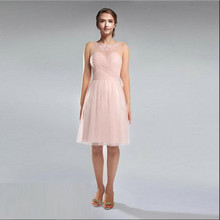 Custom Made 2017 Wedding Bridesmaid Dresses Vestido De Festa Fe Casamento Light Pink Tulle Knee Length Bridesmaid Dresses