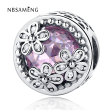 Buy 2017 Dazzling Daisy Meadow Charms Beads Fit Original Pandora Bracelets 925 Sterling Silver Pink CZ Flower Bead DIY Jewelry for $5.45 in AliExpress store
