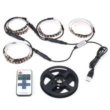 4pcs Non Waterproof 50cm RGB LED Strip Light 5050 SMD Flexible LED USB Computer TV PC Backlight Light With Remote Control Kit(China)
