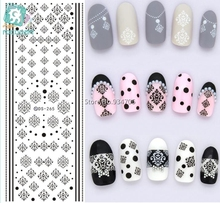 Rocooart DS265 Water Transfer Nails Art Sticker Winter Style Black Snowflake Nail Wraps Sticker Watermark Fingernails Decals(China)