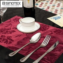 4 pcs/lot 33x48cm Placemat Pad Coasters Flocking Traycloth Red Tray Cloth Place Mats For Table Free Shipping(China)