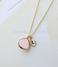Kinitial  2017 Gold Initial Crystal Necklace Letter L Necklace Bridesmaid Gifts For Women Long Paragraph Sweater Chain Pendant