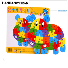 HANDANWEIRAN NEW Wooden Puzzle Toys For Children Cartoon Animal Letters Puzzles Intelligence Kids Children Toys Wholesale+Retail(China)