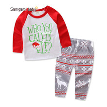 Retail Free shipping 2018 INS children's wear Christmas Set Lovely Girl Ins explosion set autumn Christmas(China)