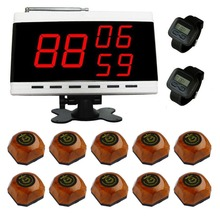 singcall.wireless Table Waiter Service Calling Paging System.Food restaurant call,10 bells and 2 watch receivers,1 Display.