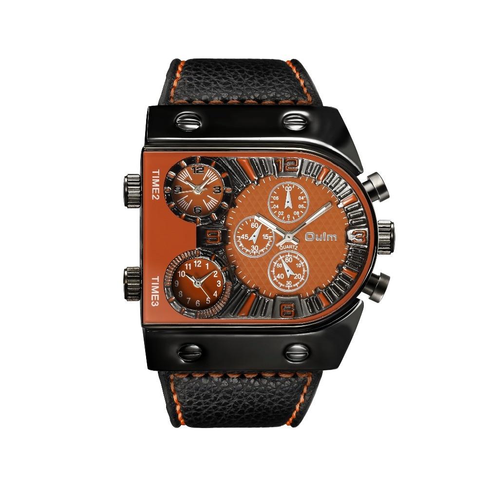 OULM Sport Watch Men Quartz Analog Clock 3 Time Zone Sub-dials Design Big case Oversize Fashion Black Wrist Watches relogio 19