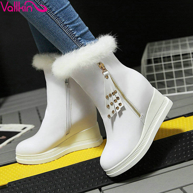 VALLKIN White 2016 Wedges High Heel Winter Snow Boots Increased Autumn Women Shoes Zipper Women Fashion Ankle Boots Size 34-42<br>