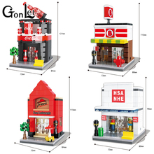 GonLeI HSANHE Small Blocks Street store Plastic Blocks DIY Building Bricks Micro Street Shop Model Toy Kids toys Girls Gifts