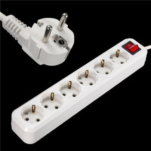New Arrival EU Plug 6 Outlets  Power 250V 16A Extension Cable Wall Socket Mains Lead Plug Strip Adapter Hot Sale