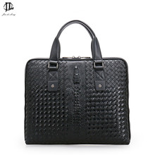Crocodile head Genuine Leather Men's Satchel Handbag Business Fashion For Men Briefcase Laptop Bag Woven Pattern Handbag
