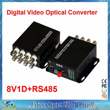 1 Pair 2 Pieces/lot 8 Channel Video Optical Converter fiber optic video optical transmitter & receiver 8CH +RS485 Data