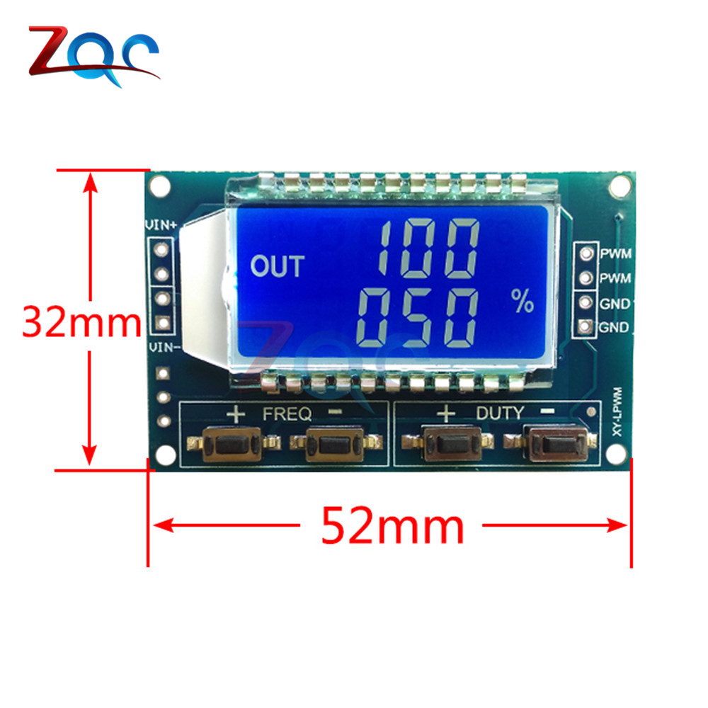 Signal Generator PWM Pulse Frequency Duty Cycle Adjustable Module LCD Display 1Hz-150Khz 3.3V-30V PWM Board Module 6