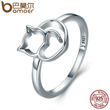 BAMOER Authentic 100% 925 Sterling Silver Naughty Little Cat & Heart Finger Ring for Women Sterling Silver Jewelry Gift SCR104(China)