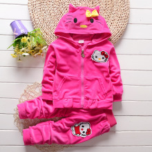 Baby girls clothing sets Hello kitty Coat + Pants Children Clothes Cartoon suit Kids velvet outfits ensemble fille For 1 2 3 4 Y