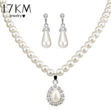 17KM Vintage African Beads Simulated Pearl Wedding Jewelry Sets Bijoux Necklace Water Drop Earrings Bridal Jewelry For Women(China)