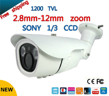 "Free shipping 1200TVL 1/3"" SONY CCD Security Camera EFFIO-E Night Vision 2.8-12mm Varifocal Lens 2 IR LED Outdoor CCTV Camera"