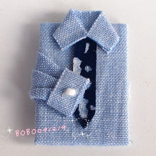 Dollhouse Miniature 1:12 Toy Bedroom Blue Shirt With Tie Length 4cm F7