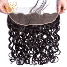 Sunlight Human Hair 13X4 Pre Plucked Lace Frontal Closure Brazilian Water Wave Remy Human Hair Natural Hairline With Baby Hair(China)