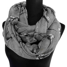 Ladies Swallow Bird Print Infinity Scarf Snood Women's Loop Party Event Accessories Gift for Her, Free Shipping(China)