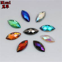 Micui100pcs 7*15mm Horse Eye AB color Acrylic Rhinestones Crystal Flatback Strass Stone For Clothes Dress Craft ZZ54