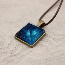 1pc Dreamlike noctilucent Luminous Starry sky Pyramid Blue crystal pendant leather chain necklace for cool women men