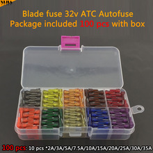Electrical Assorted Fuse 100 PCS 19mm 32V ATC Autofuse 2A/3A/5A/7.5A/10A/15A/20A/25A/30A/40A Blade Fuse with box