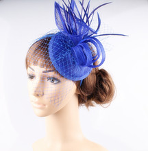 Fancy multiple colors sinamay fascinator headwear bridal veils party show hair accessories millinery cocktail hats with feather(China)