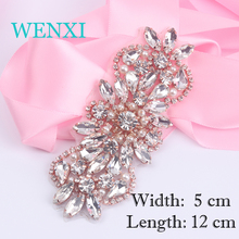 "(1pcs) WENXI"" Bridal Hand Beaded Sewing Crystal Rhinestones Appliques For Wedding Dress Belt Rose Gold Silver Beaded(China)"