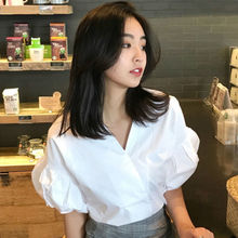 Retro Puff Sleeve White Blouse V Neck Shirt Women Tops Summer Princess Kawaii Chemise Femme Blanca Blusa Mujer Camisa