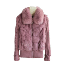 Rabbit-Fur-Jacket Coat Real-Fox-Fur-Collar QIUCHEN Natural with In-Stock Brand-New
