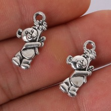 NC 12pcs 19x10MM Antique Silver Alloy Bear Metal Charms Pendant Jewelry make Findings
