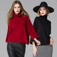 Hot Sale!!Black Gray Wine Red Choker Sweater Women 2016 Autumn Winter Haute Couture Casual Knitted Pullover Turtleneck Sweaters