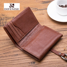Difenise Brand 2016 new designer Unisex Real Leather Short Clutch Wallets Vintage Solid personal Hasp Close women & men Wallets