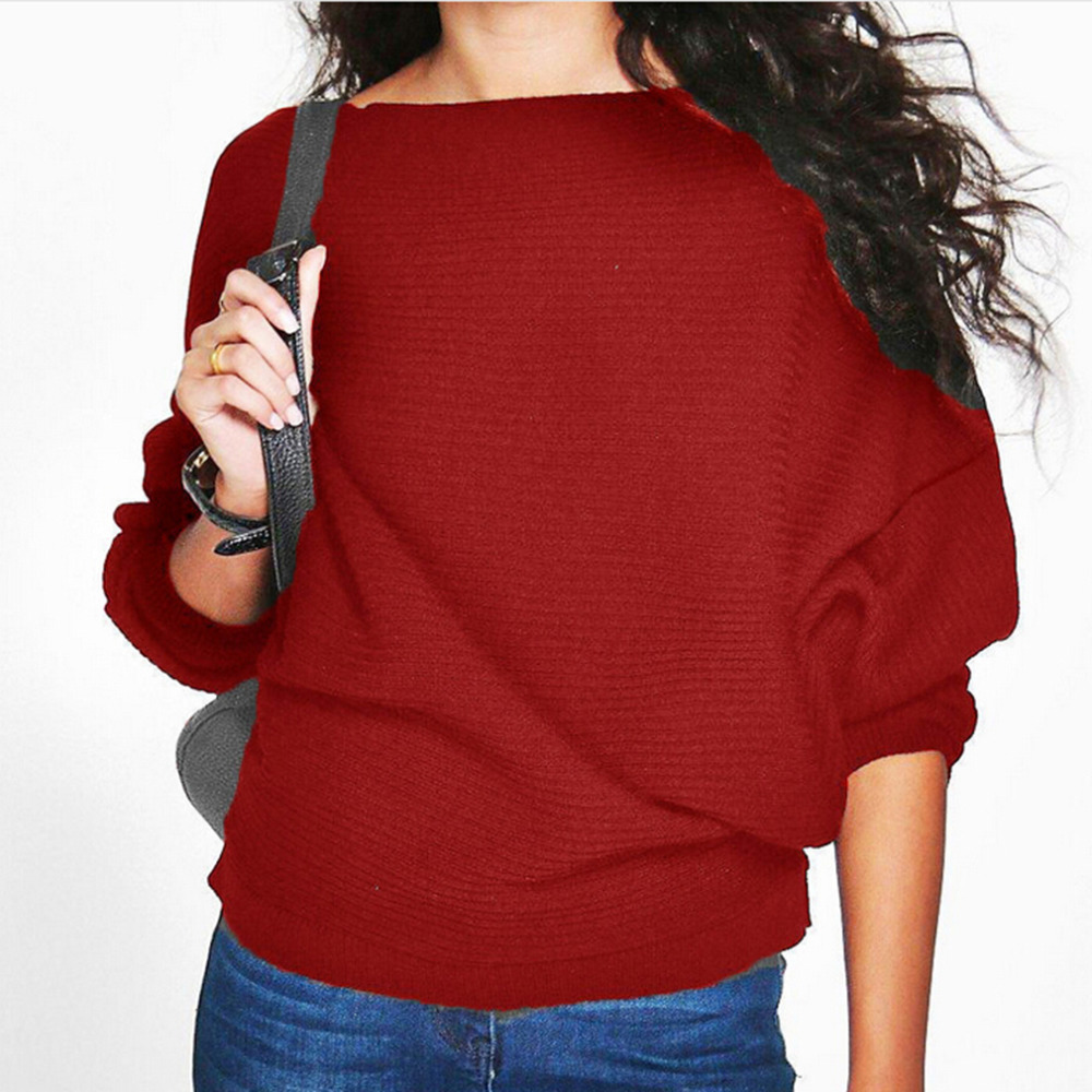 Women's Autumn, Winter Loose, Long Bat Wing Sleeve Sweater, New Pullovers Thin Sweaters Jumper 5