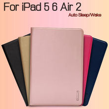 "Luxury Magnetic Stand Smart Real Leather Cover Shell for iPad 5 6/ Air 2 9.7"" Tablet Funda Case+Free Screen Protector+Stylus Pen(China)"