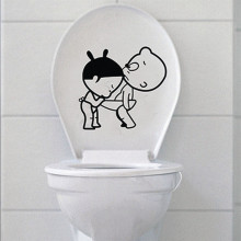 % Fancy Cartoon Boy Girl DIY Bathroom Funny Toilet Seat Wall Decal Sticker Home Decor Decorative Carton Mural Washroom Poster