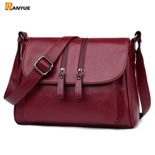 Double Zipper Shoulder Crossbody Bags For Women Luxury Designer Handbags High Quality Pu Leather Bolsas Feminina Messenger Bags(China)