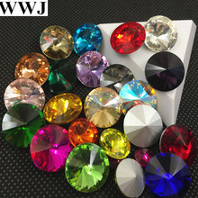 All Sizes Colors Glass Rivoli Crystal Fancy Stone 6mm 8mm,10mm,12mm,14mm,16,18mm Jewelry Stones AB, Pink,Siam Red can Mix