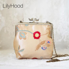 LilyHood 2017 Women Silk Shoulder Bag Handmade Etsy Retro Embroidery Wedding Cotton Frame Chain Cheongsam Cute Funky Purse Bag(China)