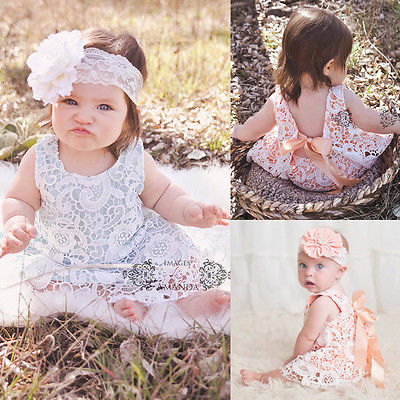 2016 Fashion Newborn Baby Girls Clothes Sunsuit Lace Swing Tops Dress Briefs 2pcs Outfit Set<br><br>Aliexpress