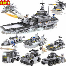 COGO 8 in 1 Aircraft Carrier Models Building Blocks Bricks Military Models & Building Toy