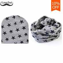 Spring Autumn Cotton Baby Hat Unisex Star knitted Crochet Baby Cap Beanies Toddler Scarf Boys Girls O Ring Neckerchief Scarves(China)