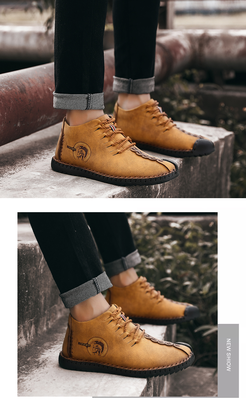 b743e15a6067e Valstone 2018 Men s Winter Leather Casual Shoes vintage High Tops Frosty boots  warm winter sneakers for man Plus size 48 KhakiUSD 22.96 pair