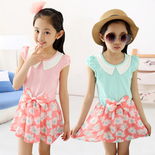 Kids Girls Hot Children Floral Chiffon Princess Short Sleeved Dress Lapel Kids Clothing Pink Blue Print(China)