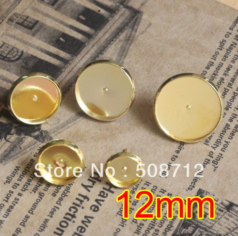Free shipping!!!  EP087 500sets 12mm Gold Plated Stud Earring Blanks Base Tray Bezel Cameo Setting Post Bullet Stopper Back