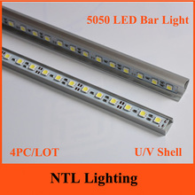 4PC/LOT New 50cm 5050 LED Bar light DC 12V 0.5m Hard Rigid LED Strip Bar Lights U V Aluminium shell freeship