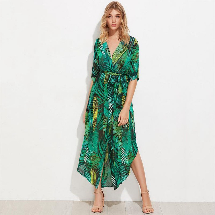 Plus Size - Chiffon Long Summer Dresses Sexy V-Neck Beach Maxi Dress Elegant Slim Floral Print Party Dresses Vestidos (Us 18W-26W)