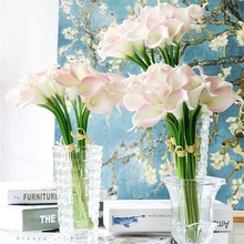 30pcs/lot Real Touch PU Calla Lily Decorative Artificial Flowers Bouquet  For WeddingParty Home Decoration Latex Fake Flower